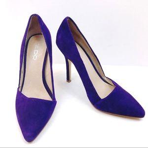 ⭐️ ALDO Suede Purple Pointy Toe Pumps Size 6